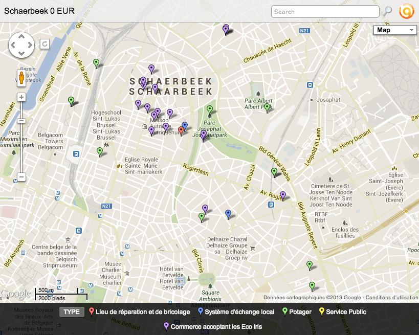 44 façons de vivre à Schaerbeek sans un euro en poche (s/ BatchGeo)