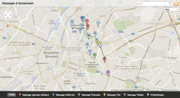 Quelques lieux de massage à Schaerbeek