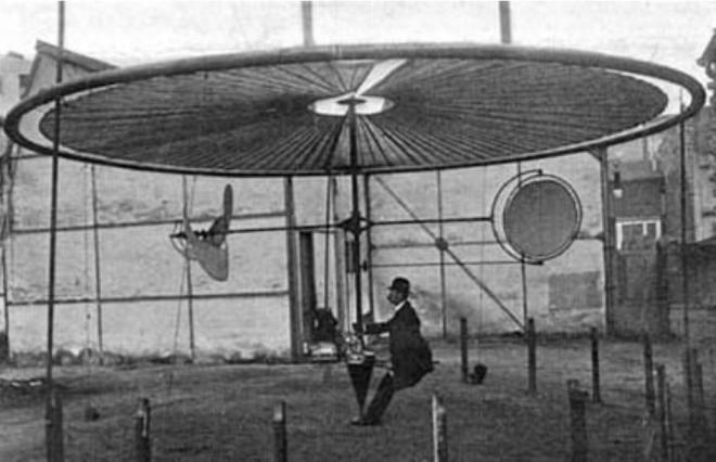 Henri Villard et son aéroplane à champ tournant (1910) : 12 cv pour soulever 320 kg